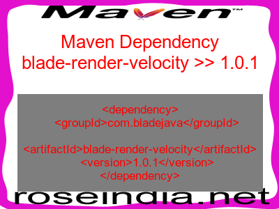 Maven dependency of blade-render-velocity version 1.0.1