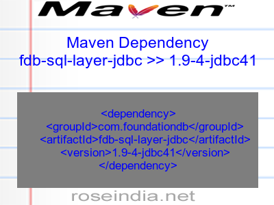 Maven dependency of fdb-sql-layer-jdbc version 1.9-4-jdbc41