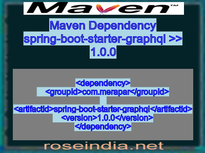 Maven dependency of spring-boot-starter-graphql version 1.0.0