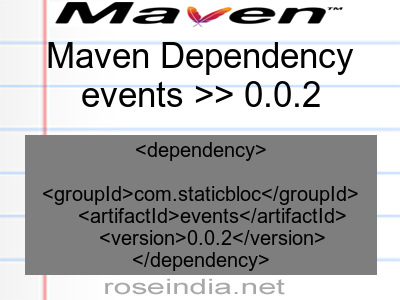 Maven dependency of events version 0.0.2