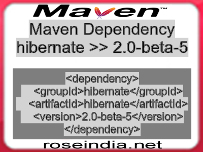 Maven dependency of hibernate version 2.0-beta-5