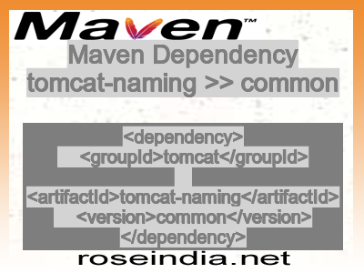Maven dependency of tomcat-naming version common