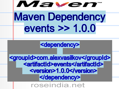 Maven dependency of events version 1.0.0