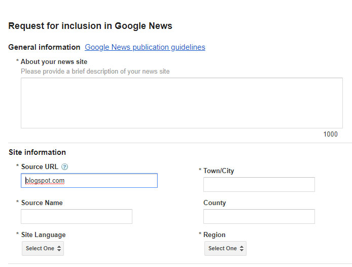 request inclusion in google news form
