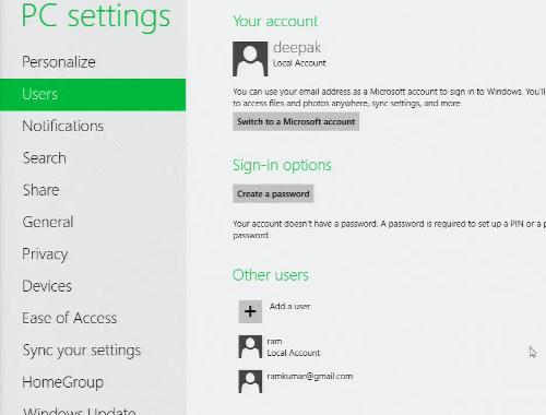Windows 8 Add Live User