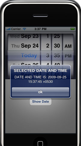 iphone date picker view controller